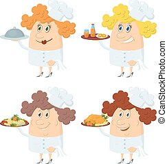 Cooks women with trays set