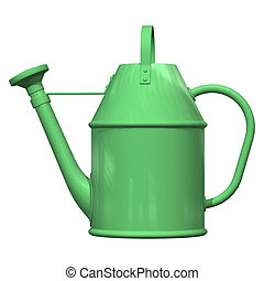 Watering Pot - 3D digital render of a green watering pot...
