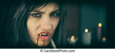 Gothic vampire with candle retro style - Gorgeous woman...