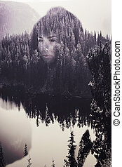 Abstract portrait of woman in the woods - Artistic concept...