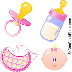 Baby Girl Collection - Baby girl set. Isolated. EPS 8, AI,...