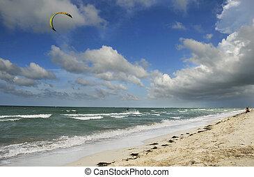 Varadero beach, cuba - A view of varadero beach with windy...