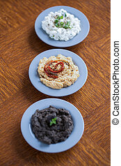 Cottage cheese, hummus and tapenade - Sandwich spreads -...