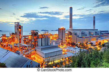Power station - Glow light of petrochemical industry on...