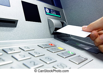 Insert card into ATM
