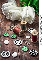 thread and buttons - armful white tulip and buttons for...