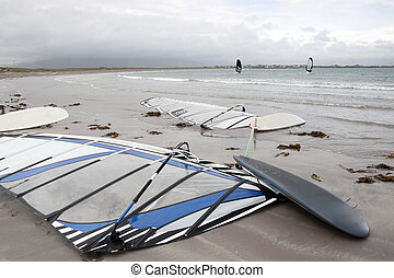 wind surfers braving the storm winds on the wild atlantic...