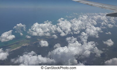 Airplane Aerial view of Cozumel Isl - The coast of Cozumel...