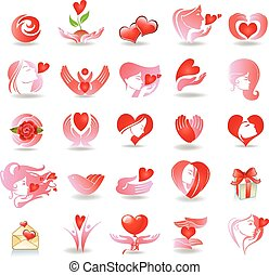 Emblems on love - Vector set with signs of love and care