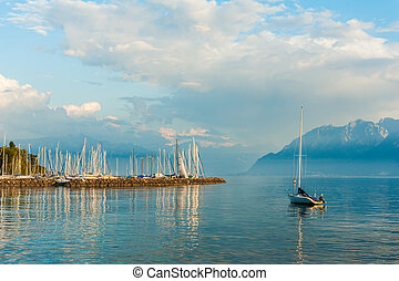 Beautiful landscape of lake Geneva on sunset, Switzerland,...