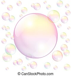 Soap Bubble White - Big pink soap bubble surrounded by small...