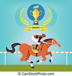les, Champion, de, course, Cheval, équitation,