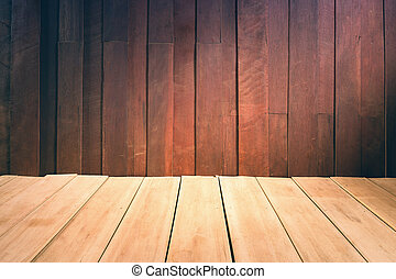 Wood wall and floor, vintage color tone.