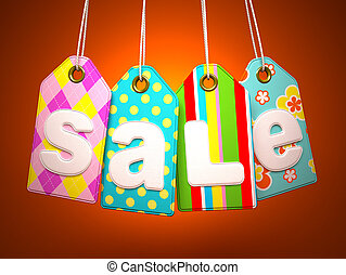 Fabric labels with SALE word