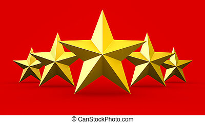 Five gold stars isolated on red background