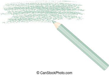 Crayon - Green cayon with a trace of slate on white...