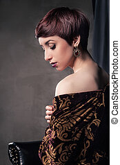 Retrato, de, jovem, mulher, com, shortinho, hair, ,