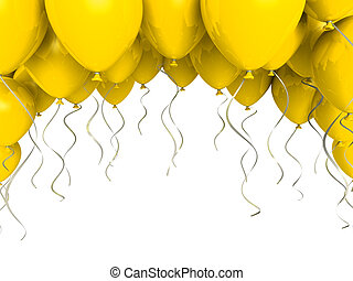 Yellow party ballons on white background