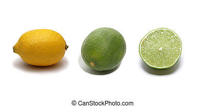 Sour citruses isolated on white background