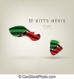 Flag of ST KITTS NEVIS as a country with shadow