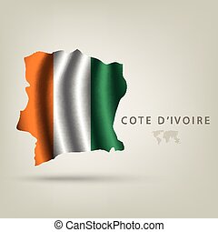 Flag of COTE D'IVOIRE as a country with shadow