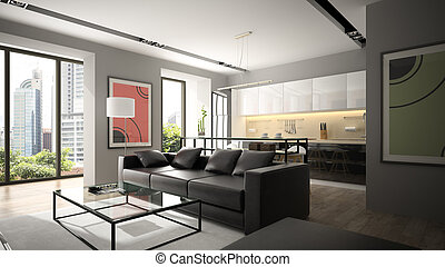 modernos, Interior, com, pretas, sofá, e, Parquet,...