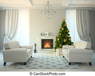 Classic style room with fireplace and christmas tree 3D...