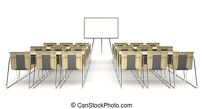 Classroom with wooden desk isolated on white background 3D...