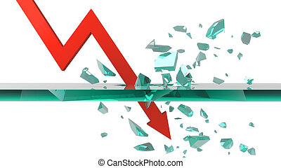 business graph fall on white background 3D rendering