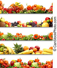 5 nutrition textures fruits and vegetables isolated on white...