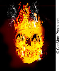 Fire skull on dark black dackground