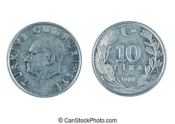 Turkey coins - isolated object on white -   coin Turkey