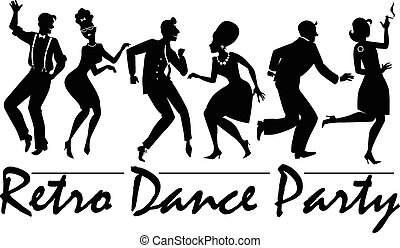 Retro dance party - Silhouette of people dressed in vintage...