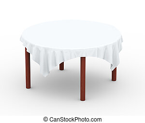 3d cloth on round table - 3d illustration of white round...