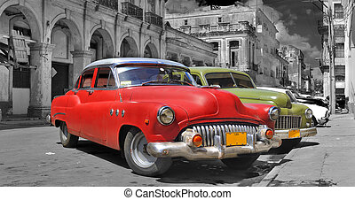 Colorful Havana cars panorama - Panoramic view of colorful...