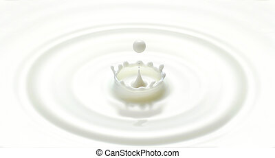 milk drop or white liquid drop created ripple wave and...