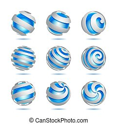 Abstract 3d vector sphere set