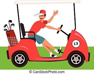 Caddy in a golf cart - Young guy driving a golf cart with a...