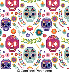 Mexico pattern with skull and flowers - Mexico pattern with...