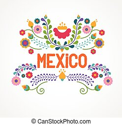 Mexico flowers, pattern and elements Vector illustration