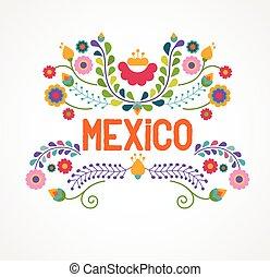 México, flores, patrón, y, elementos,