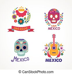 Mexico music, skull and food elements - Mexico flowers,...