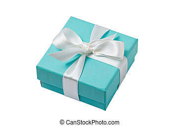 Isolated turquoise gift box on white background with path -...