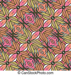 Decorative Floral Motif Pattern Background - Hand draw and...