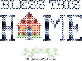 Bless This Home Embroidery - Bless This Home retro cross...