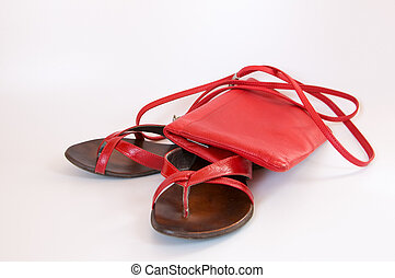 leather slippers and handbag - a pair of red leather summer...