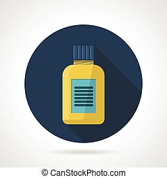 Flat color vector icon for fat burn - Dark blue flat round...
