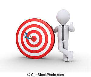 Businessman and target with arrows