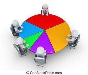 Businessmen around pie chart - Businessmen are sitting...