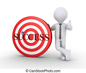 Businessman and target with success word on it